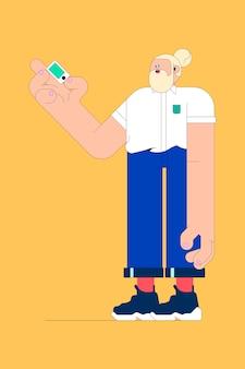 Illustration d'un jeune homme avec vecteur de smartphone