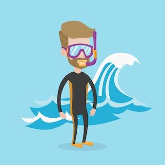 Illustration de jeune plongeur.