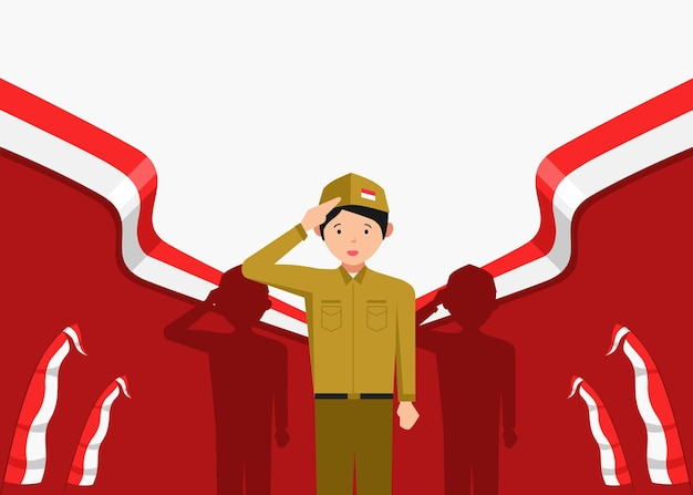 Illustration de jeunes hommes célébrant la fête de l'indépendance indonésienne le 17 août
