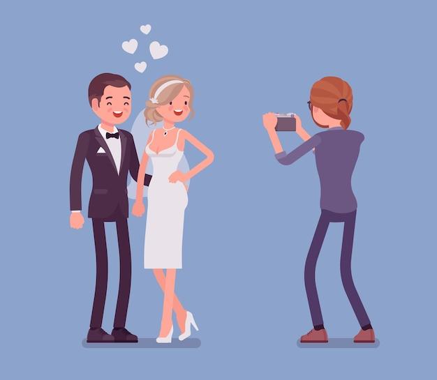 Illustration de jeunes mariés et de photographe