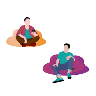 Illustration des jeunes se détendre