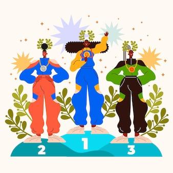 Illustration des jeux olympiques plats 2021