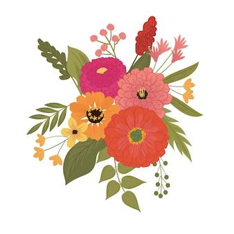 Illustration de joli bouquet de fleur de zinnia en rouge, rose, orange