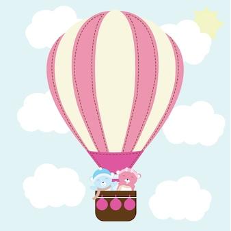 Illustration avec joli couple ours dans la montgolfière sur le ciel approprié pour la carte de la saint-valentin