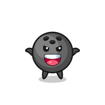 L'illustration d'une jolie boule de bowling faisant un geste effrayant, un design de style mignon pour un t-shirt, un autocollant, un élément de logo