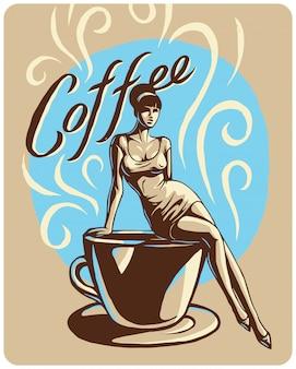 Illustration avec une jolie femme et une tasse de café