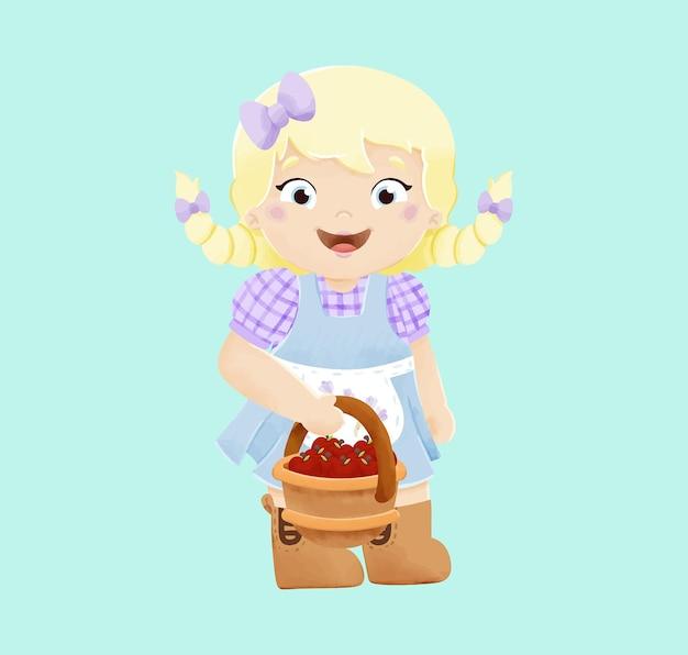 Illustration de jolie fille agriculteur aquarelle