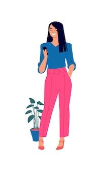Illustration d'une jolie fille dans un chemisier bleu et un pantalon rose.