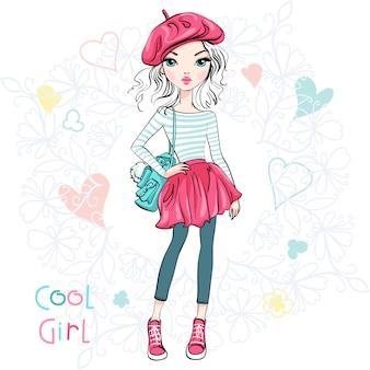Illustration jolie fille à la mode