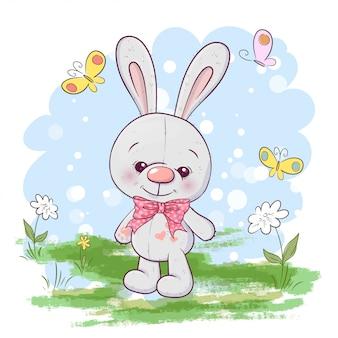 Illustration de jolies petites fleurs de lièvre et de papillons