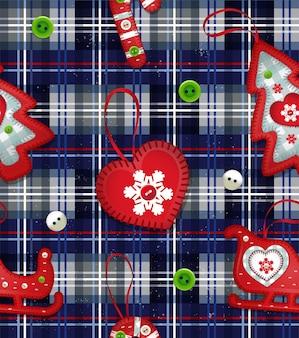Illustration avec des jouets faits à la main pour arbre de noël et boutons colorés tissu ou emballage du nouvel an