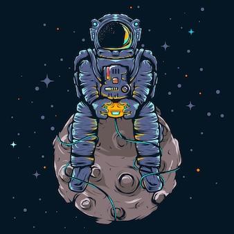 Illustration Joueur Astronaute Vecteur Premium