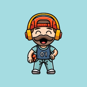 Illustration d'un joueur de basket-ball mignon