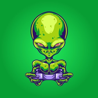 Illustration de joueur de logo de mascotte extraterrestre