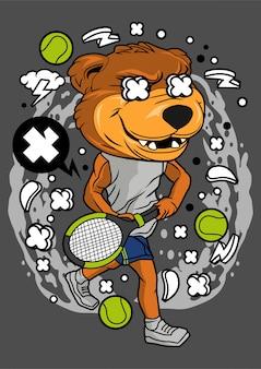 Illustration de joueur de tennis ours