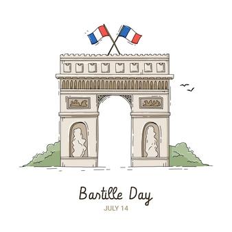 Illustration de jour de bastille dessiné à la main