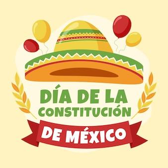 Illustration de jour de constitution du mexique avec chapeau de fête