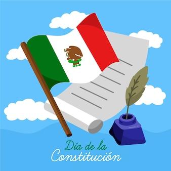 Illustration de jour de constitution du mexique avec drapeau