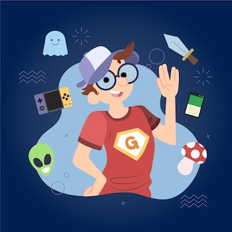Illustration de jour de fierté de geek de dessin animé