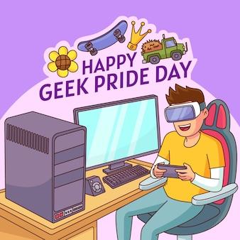 Illustration de jour de fierté geek dessiné à la main