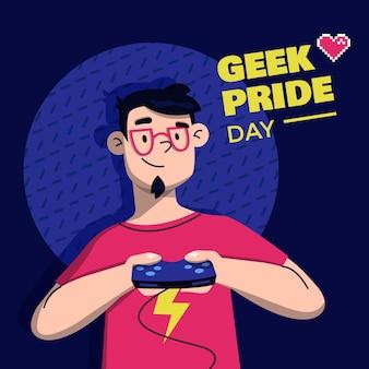 Illustration de jour de fierté de geek plat organique