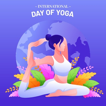 Illustration de jour international dégradé de yoga