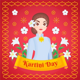 Illustration de jour kartini dessiné à la main