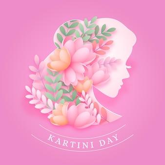 Illustration De Jour Kartini En Style Papier Vecteur gratuit