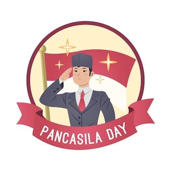 Illustration de jour de pancasila dessiné à la main