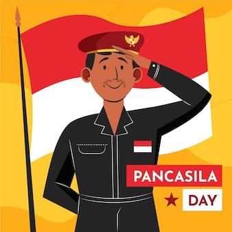 Illustration de jour de pancasila plat bio