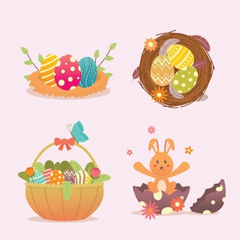 Illustration de jour de pâques avec nid d'oiseau