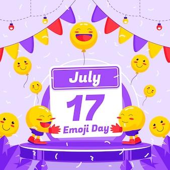Illustration de jour plat monde emoji