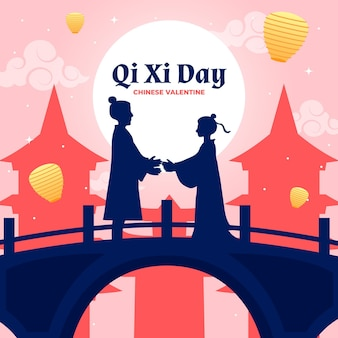 Illustration de jour plat qi xi