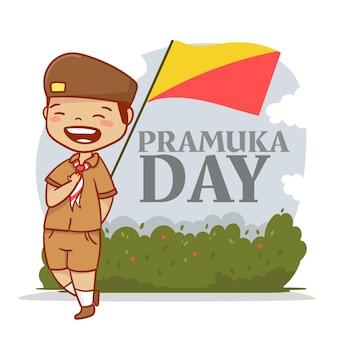 Illustration de jour de pramuka de dessin animé