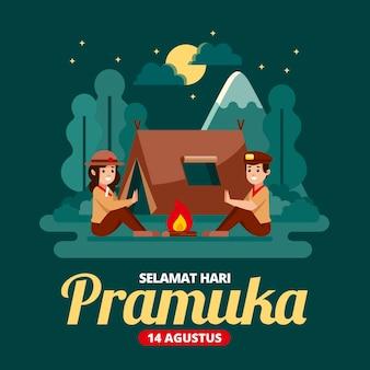 Illustration de jour de pramuka plat
