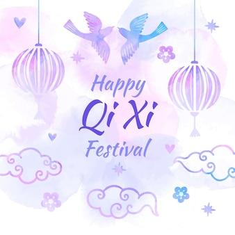 Illustration de jour qi xi aquarelle peinte à la main