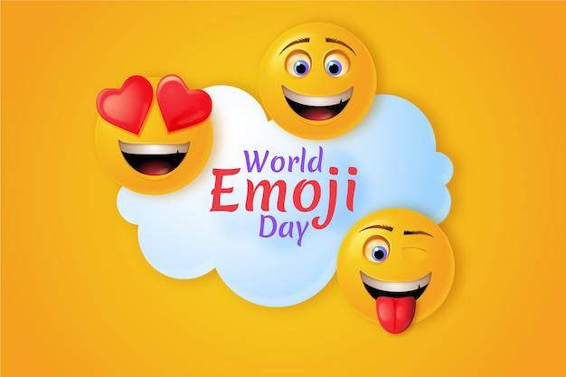 Illustration de jour réaliste 3d monde emoji