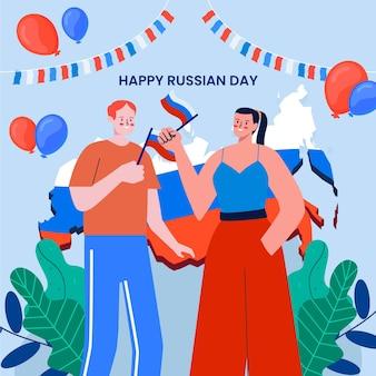 Illustration de jour de russie plat organique