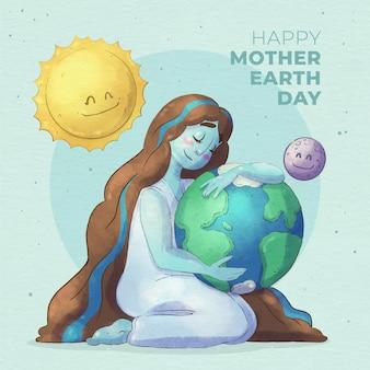 Illustration de jour de la terre mère aquarelle