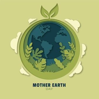 Illustration de jour de la terre mère dans le style de papier