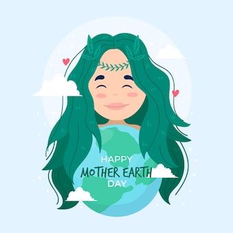 Illustration de jour de la terre mère dessiné à la main