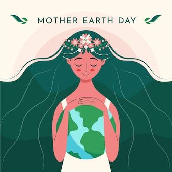 Illustration de jour de la terre mère plat organique