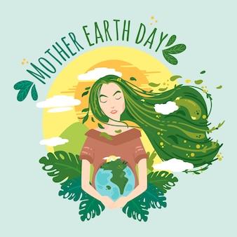 Illustration de jour de la terre mère plate