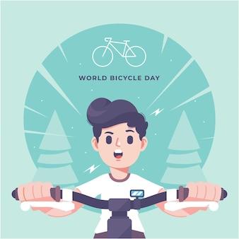Illustration de jour de vélo mignon dessiné à la main