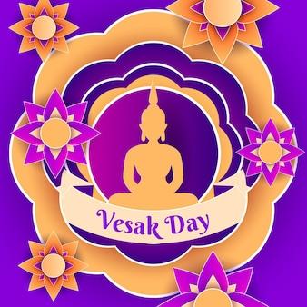 Illustration de jour de vesak dans le style de papier