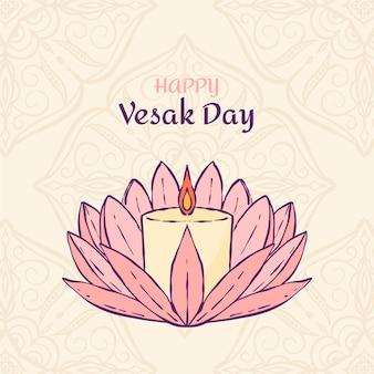 Illustration de jour vesak dessiné à la main
