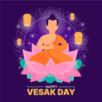 Illustration de jour vesak dessiné à la main