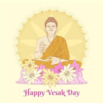 Illustration de jour de vesak dessiné à la main