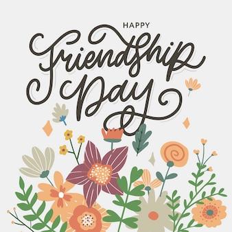 Illustration de la journée de l'amitié avec du texte et des éléments pour célébrer les fleurs de la journée de l'amitié