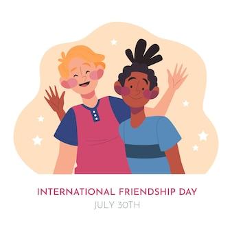 Illustration de la journée de l'amitié internationale plat organique